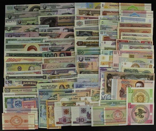 Lote 100 Notas 30 Países UNC não circuladas raras