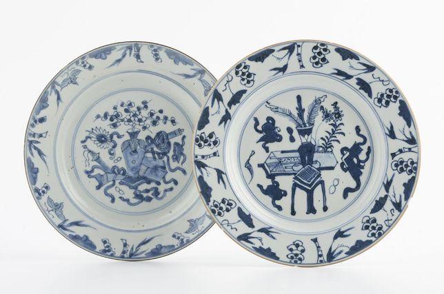 Dois Pratos Companhia das Índias, reinado Qianlong. Sec. XVIII