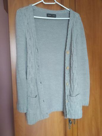 House Kardigan sweter zapinany na guziki jasny szary
