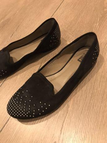 Buty 38 czarne mokasyny baletki