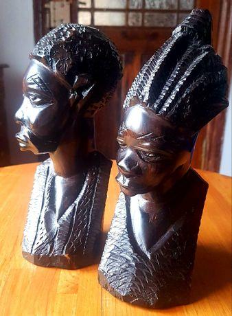 Rzeźby z drewna egzotycznego komplet