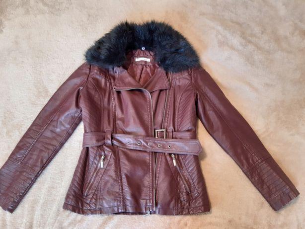 Куртка кожаная LC Waikiki женская кожанка косуха с мехом бордовая