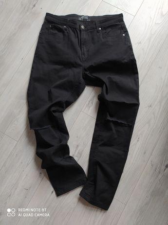 Spodnie wysoki stan dziury kolana czarne nowe bez metki