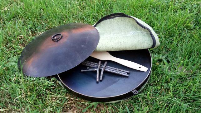 Комплект: сковорода из диска бороны 30 см с крышкой и чехлом