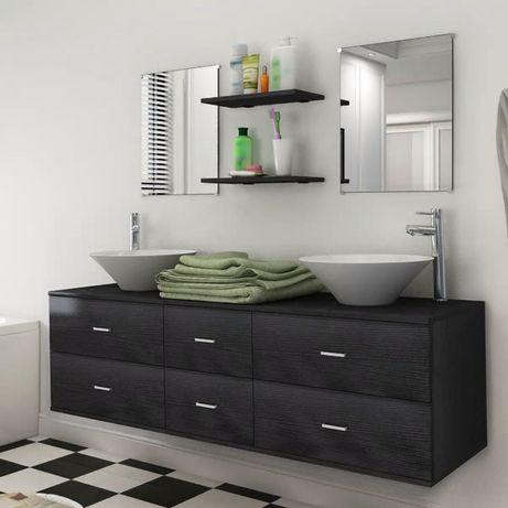 vidaXL Móveis casa de banho 7 pcs e conjunto lavatório preto 272231