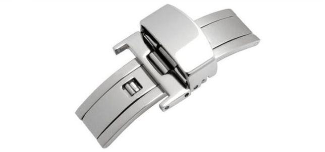Zapięcie motylkowe zegarka srebrne 16mm 18mm Smartwatch