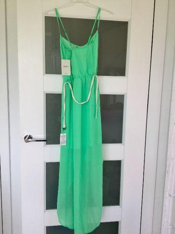 Letnia seledynowa sukienka ZARA zielona