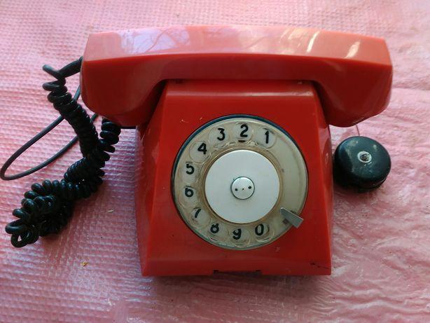 Телефон стаціонарний з вертушкою, червоний