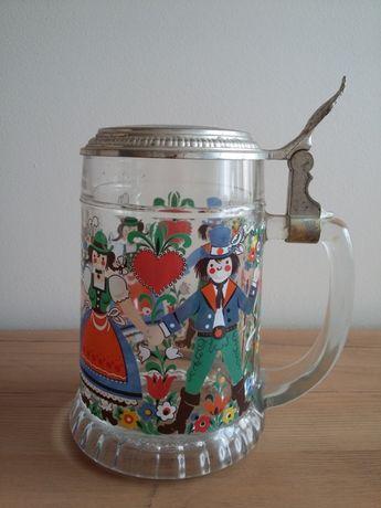 Kufel szklany,malowany; ludowy, kolekcjonerski