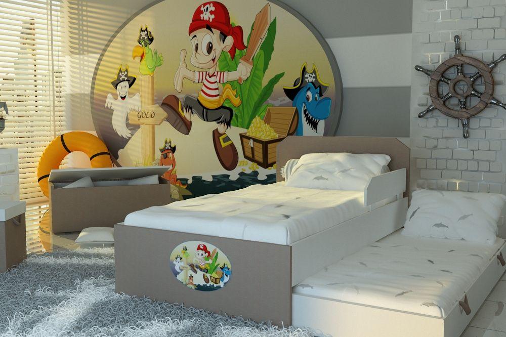 Bajeczne łóżko dla dzieci z piratami,łóżeczko piętrowe,materace GRATIS
