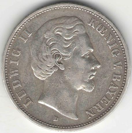 Германская империя 5 марок 1875 Бавария Людвиг II