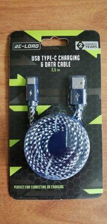 Kabel szybkie ładowanie USB Typ C 2,1A/10W 2,5m