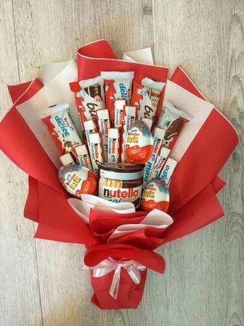 Їстівні букети, букет із солодощів, фуд букет, букет з кіндерів
