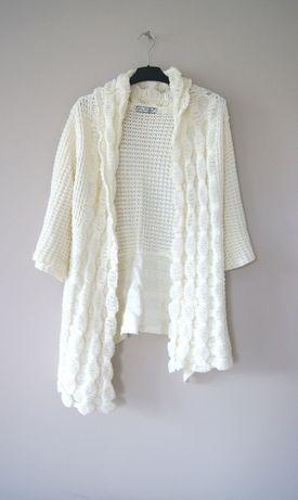 bialy sweterek narzutka wdzianko biale biala kardigan welniany 50 52