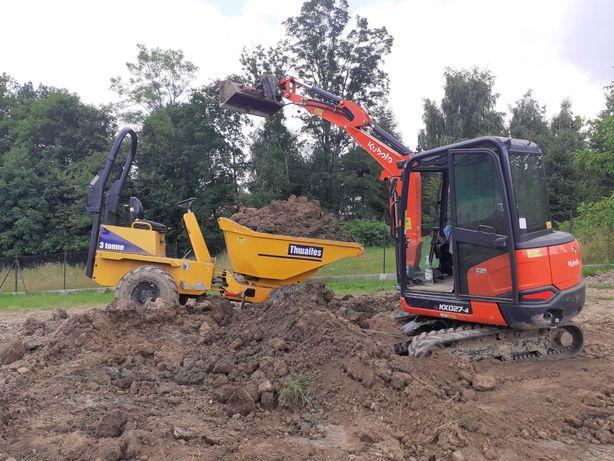 uslugi mini koparka wozidlo roboty ziemne drenaze wyrownywanie terenu