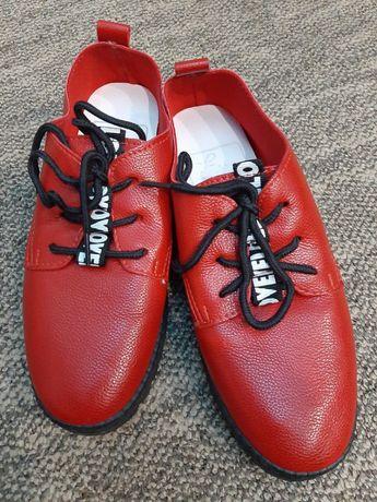 Мягкие туфли из кожзама на девочку, р-р 34-35