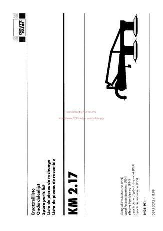 Katalog części kosiarka Deutz fahr KM 2.17