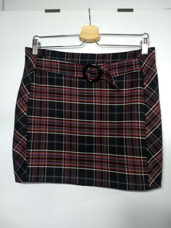 Czarna spódnica w kratkę 38/M Orsay, krótka spódniczka czerwono-biała