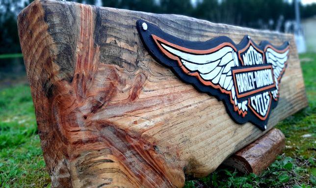 Quadro vintage Harley Davidson madeira pinho maciça