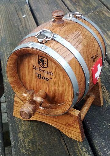 Barril para cão S. Bernardo - Mini barril - Mini Barril de madeira