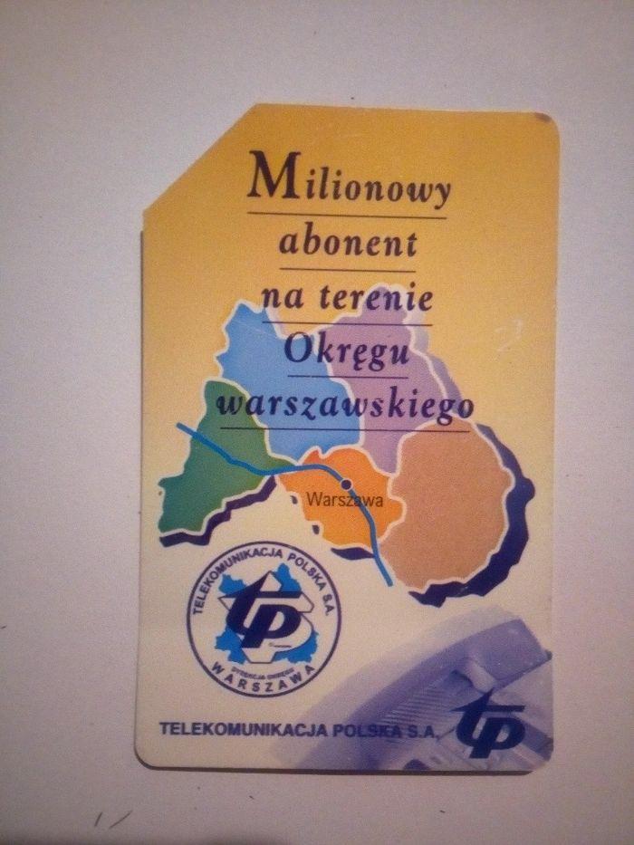 karta milionowy abonent na terenie okręgu warszawskiego Gliwice - image 1