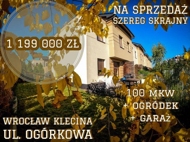 Dom szeregowy skrajny 100 mkw Wrocław Klecina ul. Ogórkowa Prywatnie