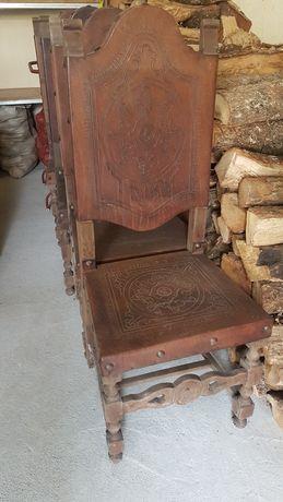 Cadeira madeira e couro vintage