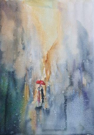 Obraz ręcznie malowany Akwarela Parasolka