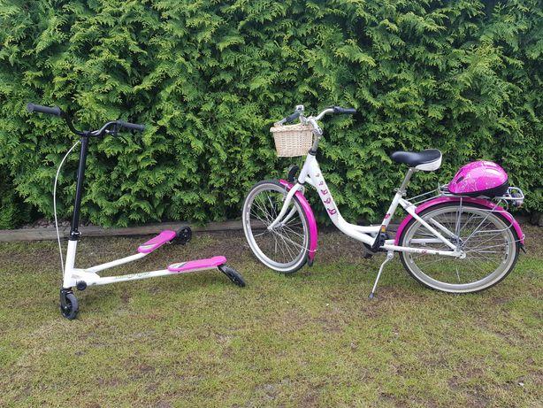 rower oraz hulajnoga trójkołowa
