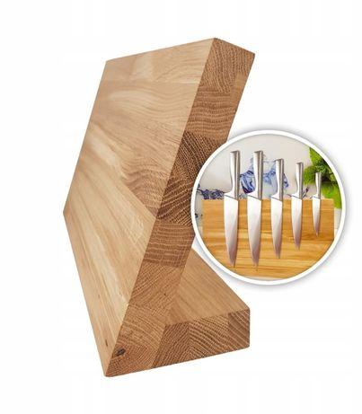 Magnetyczny stojak na noże Deska dębowa blat dębowy Komplet noży