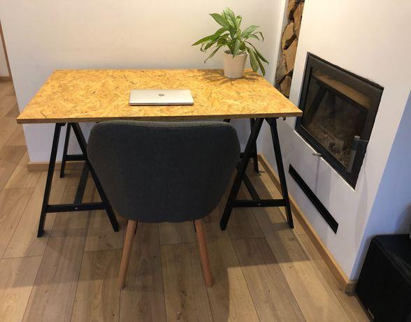 Biurko, stół drewno, metal, skandynawski styl, 80x125cm