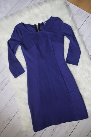 Piękna dopasowana chabrowa sukienka H&M granatowa elegancka