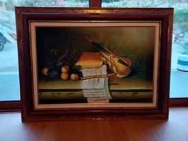 quadro pintado à mão com uma moldura lindíssima