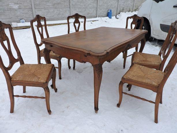 Stol rozkladany ludwik + 6 krzesel ludwikowskich