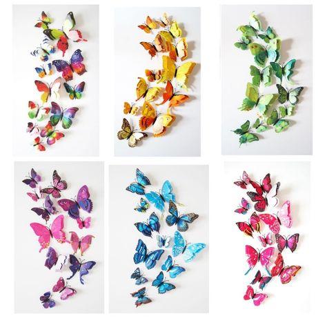 Наклейки бабочки 3D на стену декоративные объемные стикеры для декора