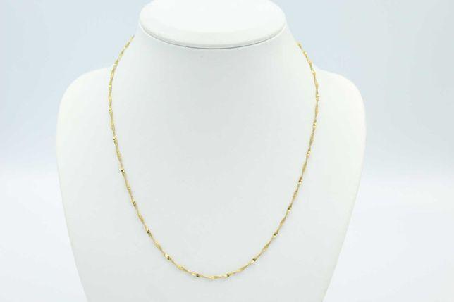 Śliczny kręcony złoty łańcuszek -585- 51 cm