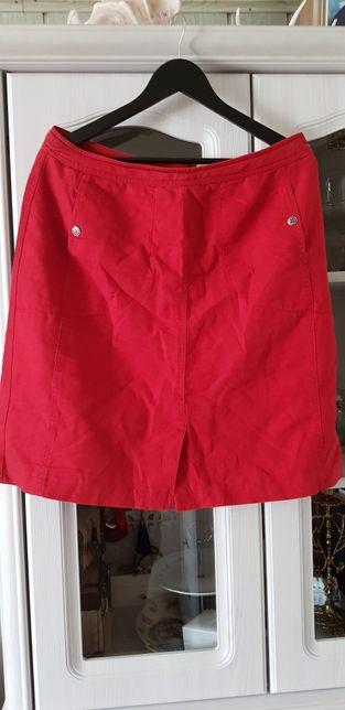 Lniana czerwona spódnica