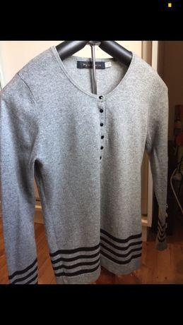 Sweterek szary kaszmirowy 100% cashmere 38 36