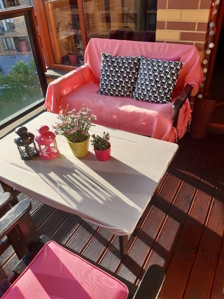 Meble ogrodowe, na balkon/ taras; zestaw: 2 krzesła, stół, ławka