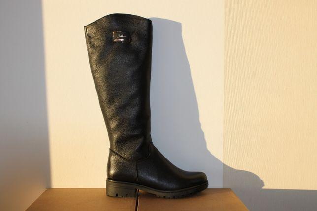 Зимние сапоги женские высокие кожаные на меху (код:1745мех)