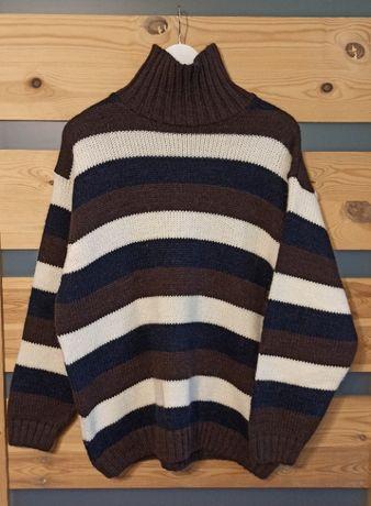 Ellesse Striped wełniany golf sweter w paski retro vintage
