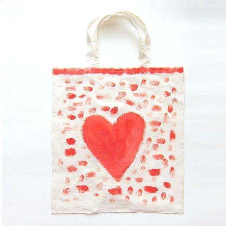 fajna torba z czerwonym sercem,eko torba,płocienna torba,eko opakowani