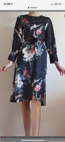 Zara sukienka ptaki 34 36