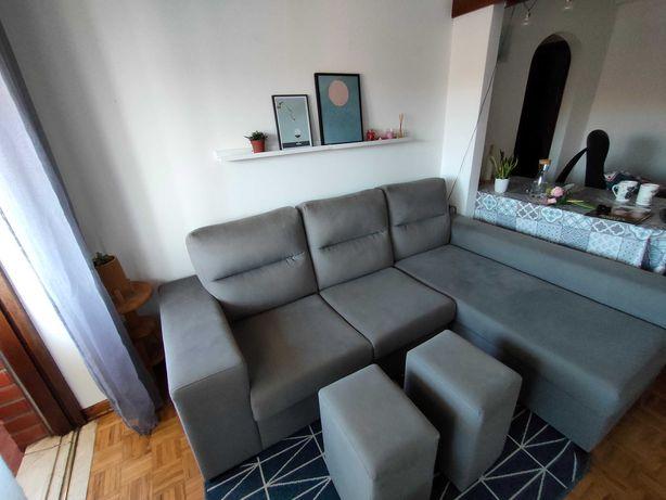 Venda Sofá impermeável com Chaise Long com Arrumação e 2 Bancos