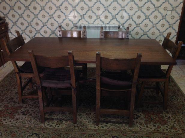 Mesa rústica em madeira maciça 1m80 x 90cm com seis cadeiras