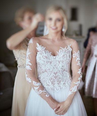 Suknia ślubna, ecru, rozmiar 36/38, w stylu Milla Nova