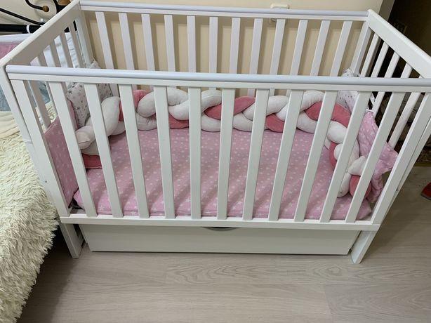 Кроватка Верес ЛД13 маят, ящик +матрац+косичка, бортики, одеялко, держ