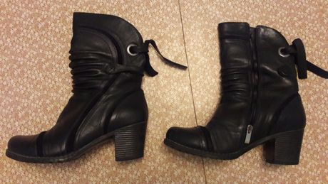 Полусапоги женские чёрные кожаные, размер 40