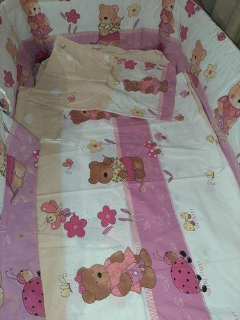 Комплект: постельное белье, бортик в кроватку, одеяло на овчине