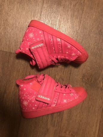 Ботинки розовые на липучке теплые хайтопы Adidas superstar